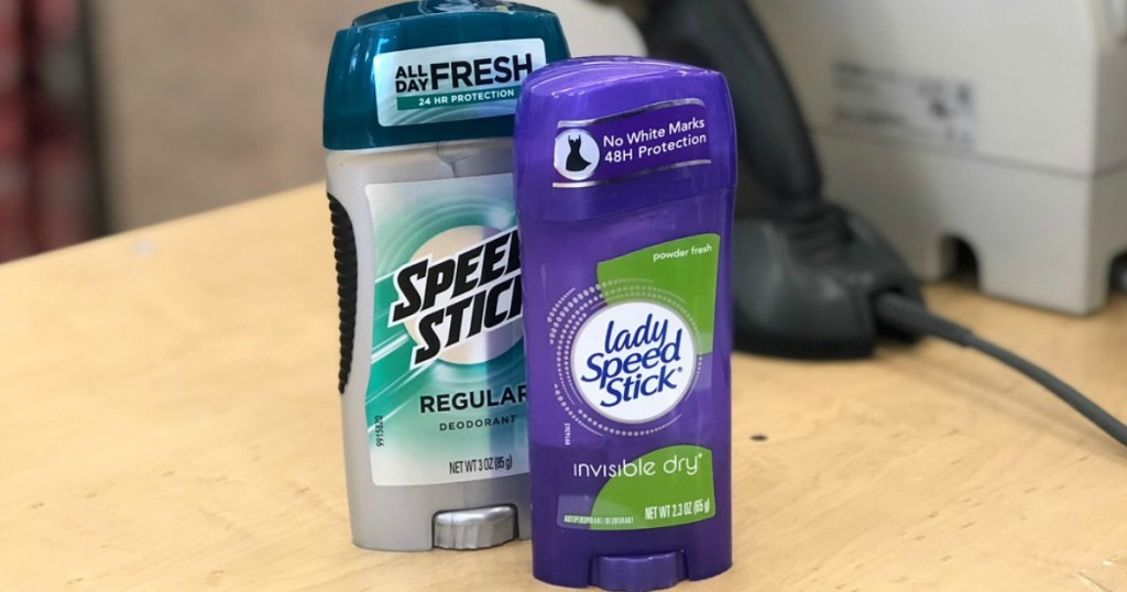 speedstick deodorant on a counter at walgreens