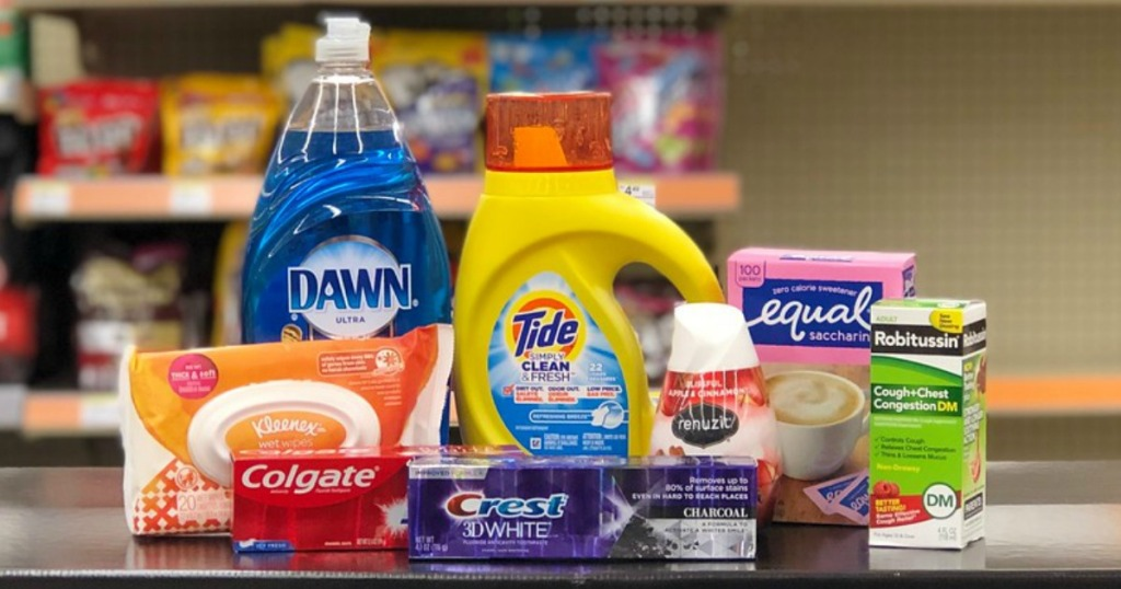 kleenex wipes, dawn dish liquid, crest and colgate toothpaste, tide detergent and robitussin at walgreens