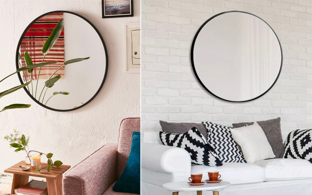 Beautiful mirrors hanging on a wall