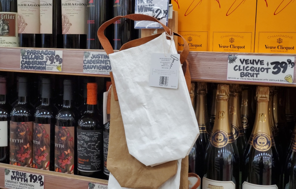 Washable paper wine bags at Trader Joe's