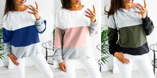 Over 50% Off Women's Long Sleeve Color Block Shirts on Amazon | 8 Different Color Options