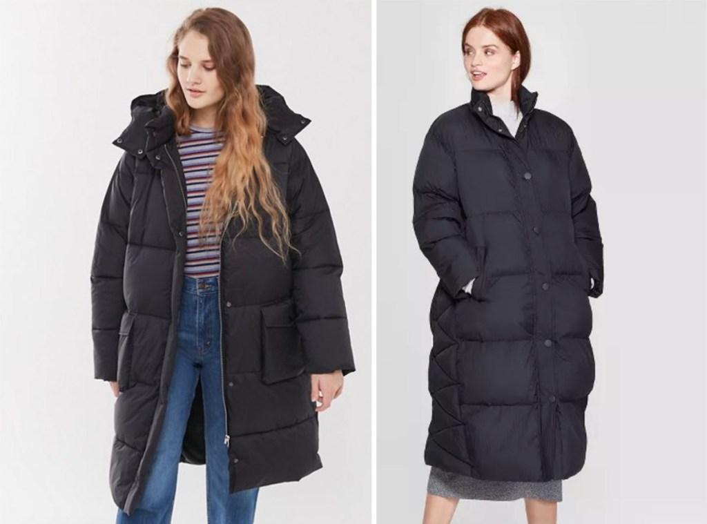Models wearing women's puffer jackets