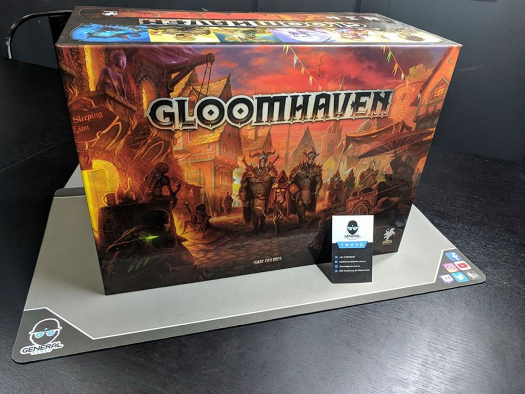 picture of Gloomhaven game on a table waiting to be played