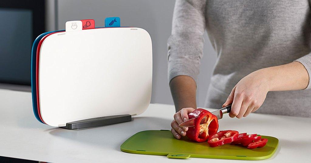 Joseph Joseph White & Green Five-Piece Cutting Board Set