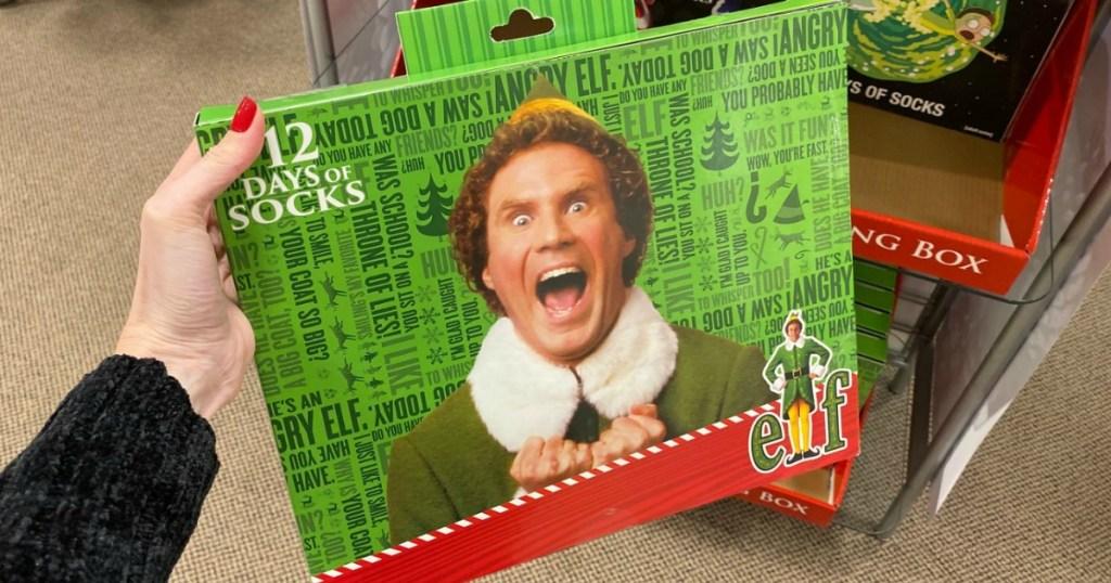 12 Days of Socks set Buddy the Elf themed