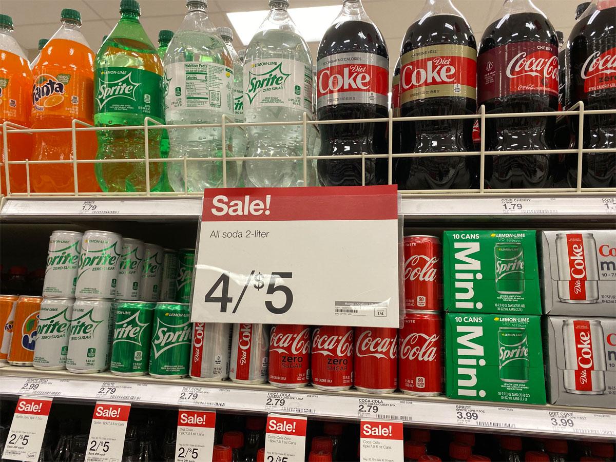 sprint fanta diet coke and more 2 liter soda on shelf in target