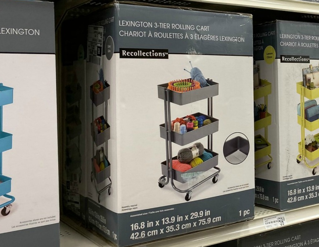 3-tier rolling cart in package