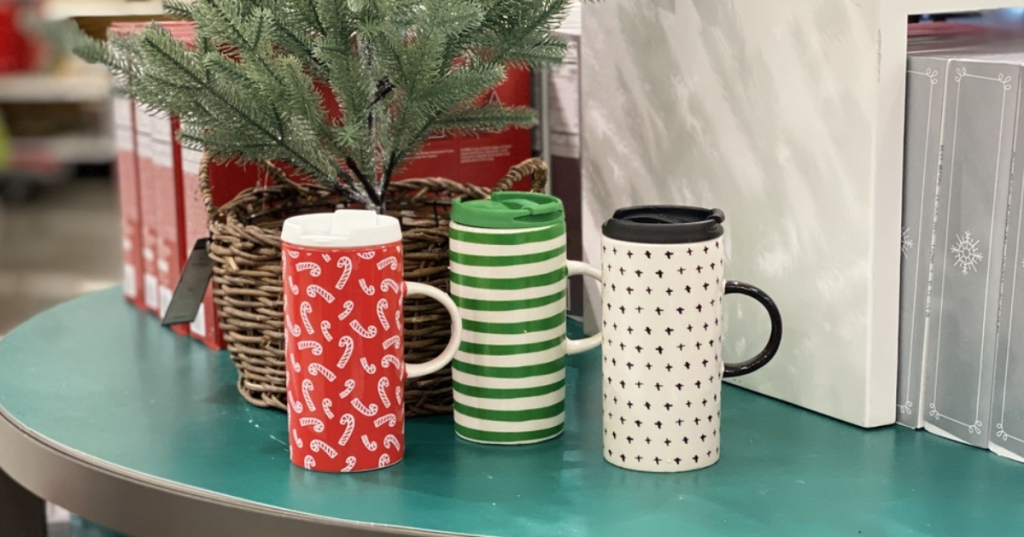 3 lidded holiday coffee mugs from Target