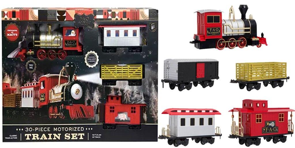 FAO Schwartz 30 piece motorized train set box and pieces