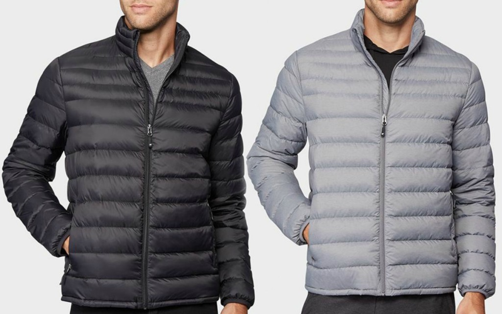 Two colors of men's down jackets