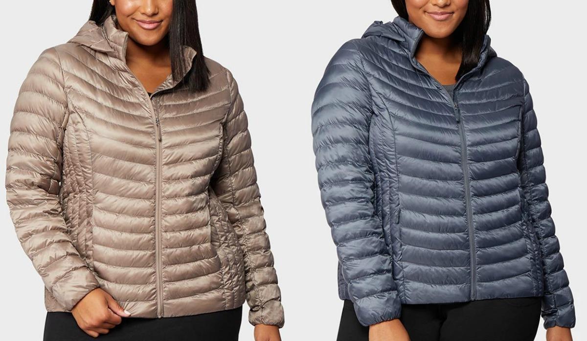 Wanita yang mengenakan dua warna jaket puffer bulu angsa