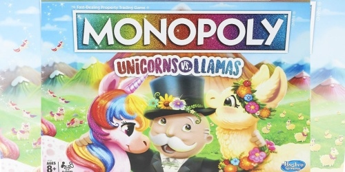 Monopoly Unicorns Versus Llamas Board Game Only $12.99 at Amazon + More Game Deals
