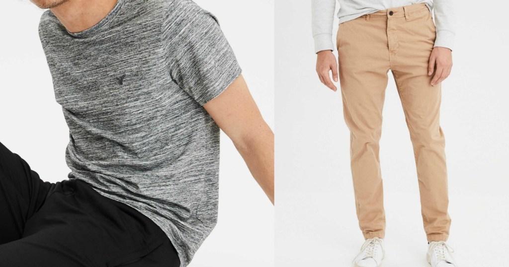 models wearing AEO Men's Tee and Pants