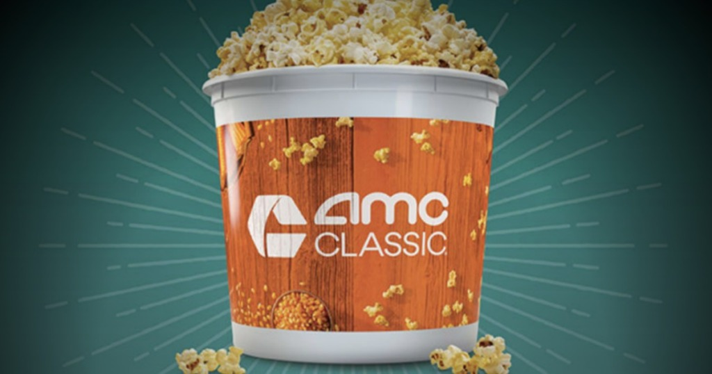AMC Annual Popcorn Bucket filled with popcoen