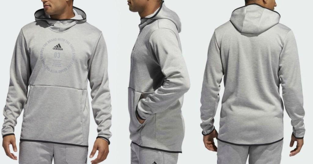 Man wearing an Adidas Men's hoodie at three angles