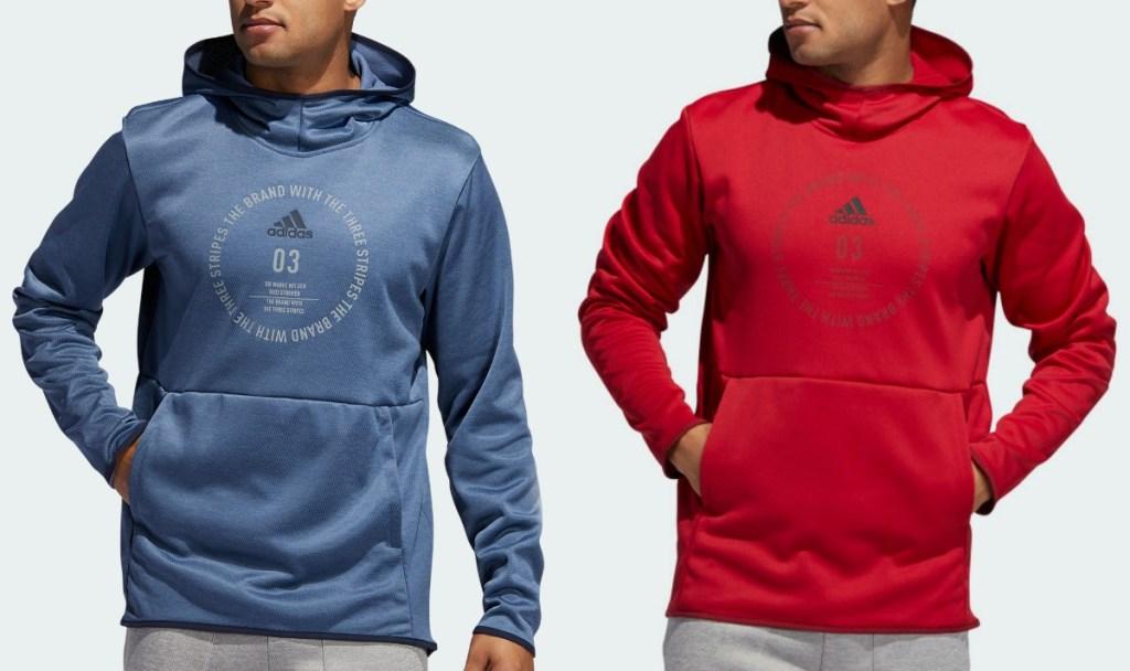Two colors of men's adidas hoodies