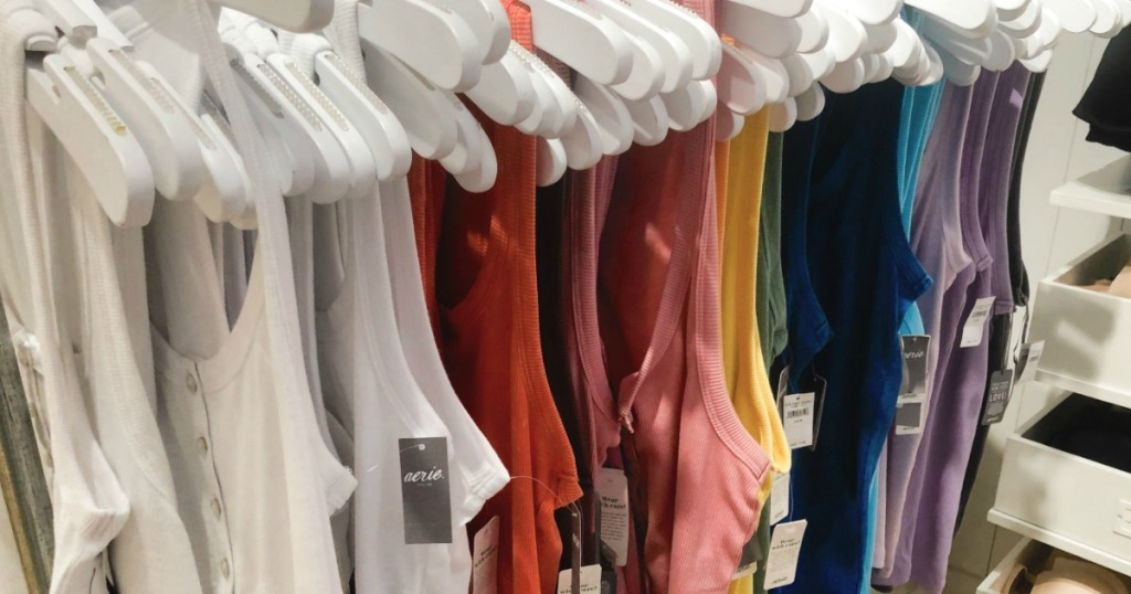 Aerie Tanks on hangers at Aerie