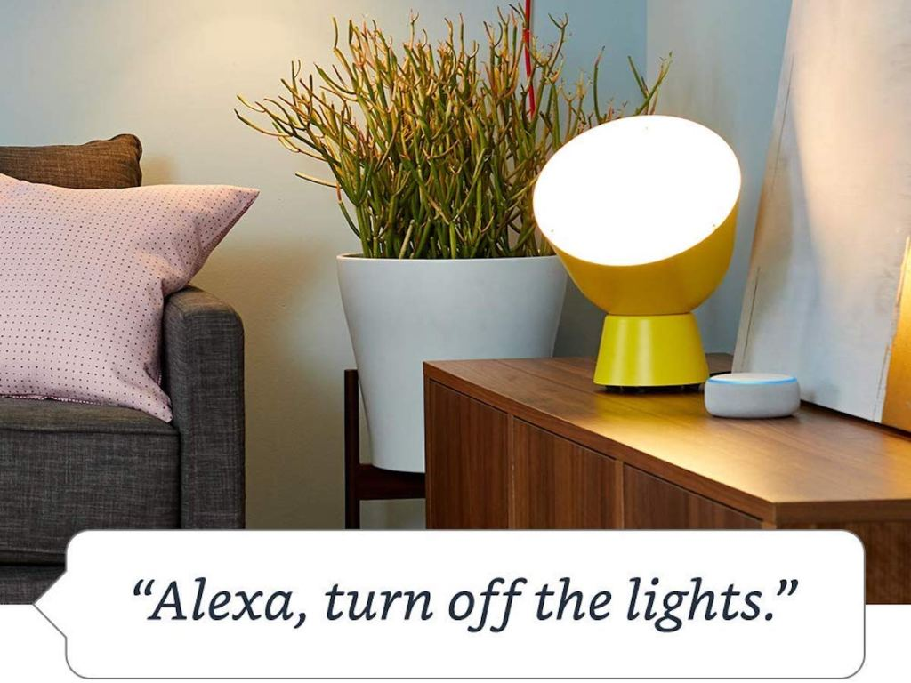 Alexa turn off the lights blurp with yellow lamp