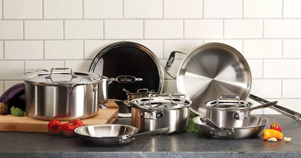 All-Clad D5 Stainless Brushed 10-Piece Cookware Set in kitchen with white subway titles