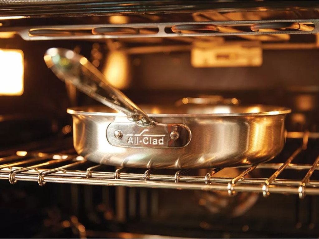 All-Clad D5 Stainless Brushed frying pan in oven