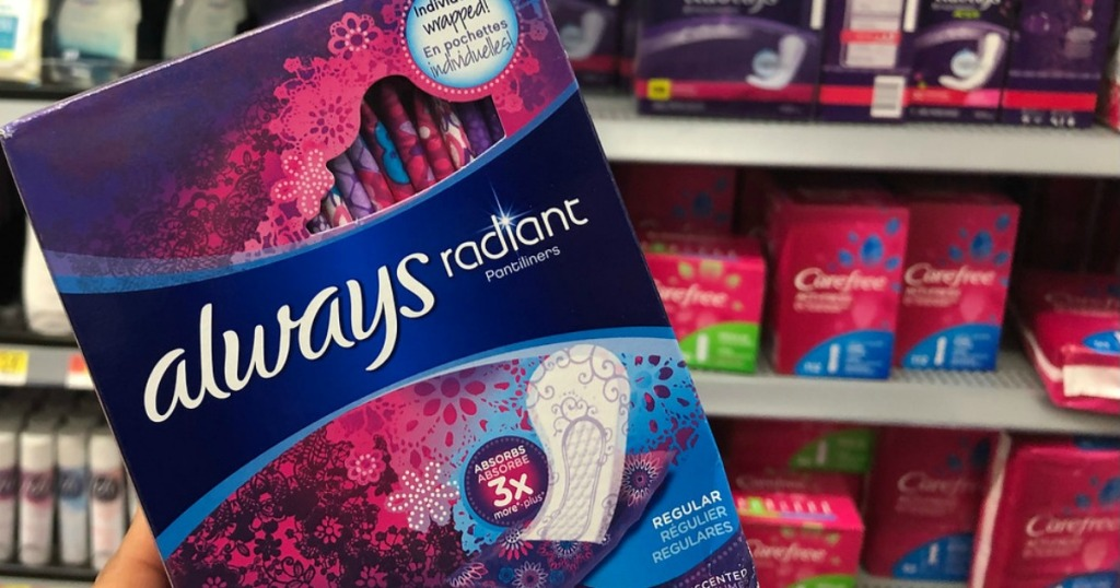 Always Radiant Pads held up in store aisle