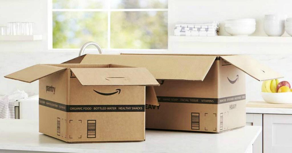Amazon Prime Pantry boxes on counter