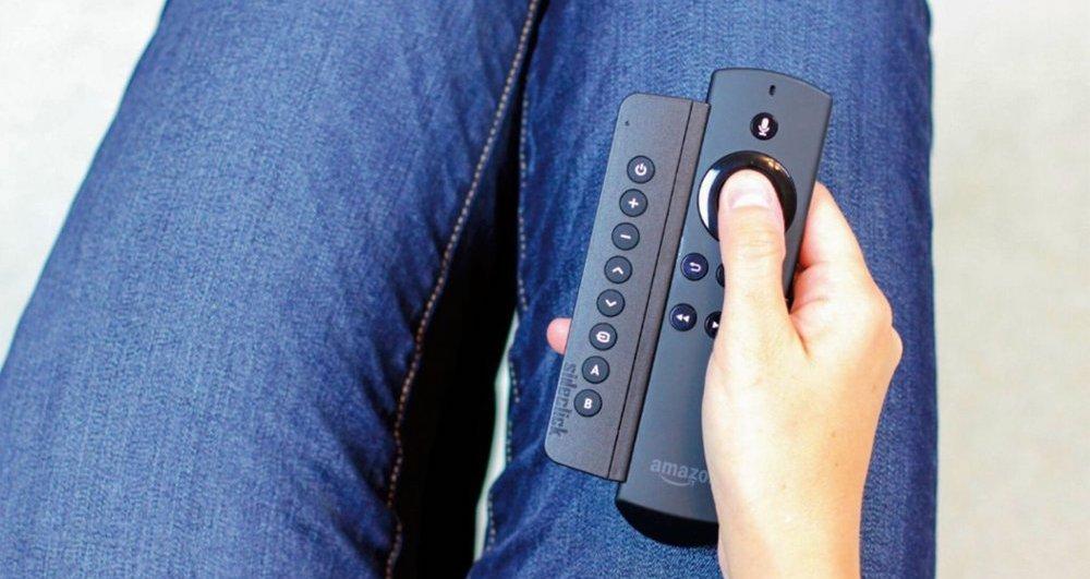 hand holding Amazon Sideclick Remote