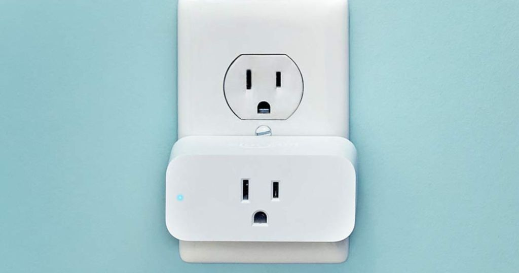Amazon Smart Plug Outlet with blue background