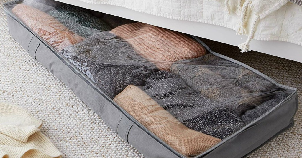 under bed storage container with sweaters