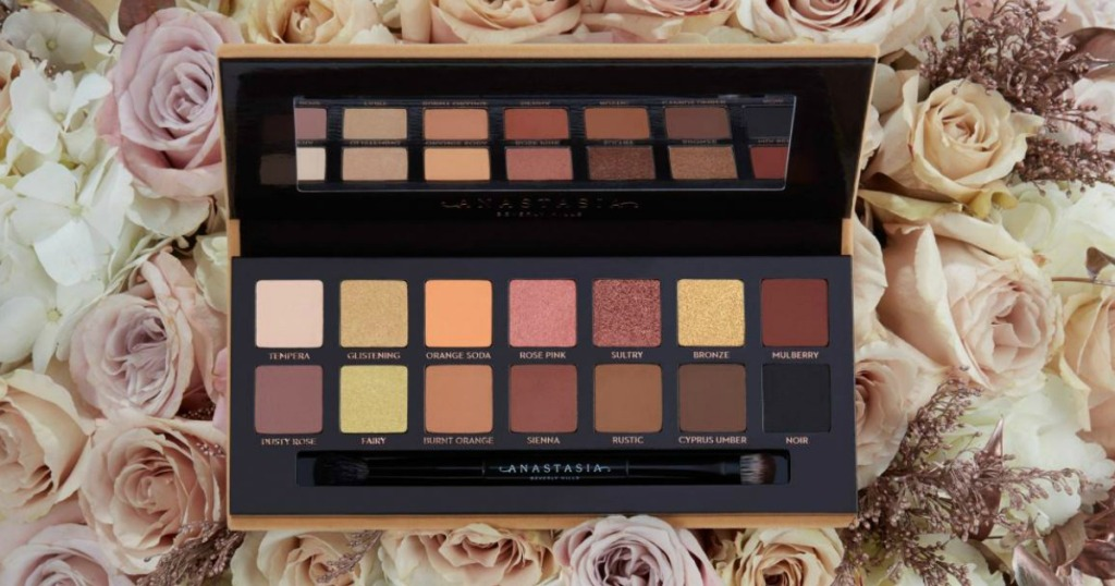 Anastasia Soft Glam Palette on top of roses