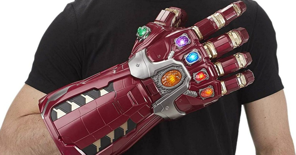 man wearing the Avengers Marvel Legends Series Endgame Power Gauntlet Articulated Electronic Fist
