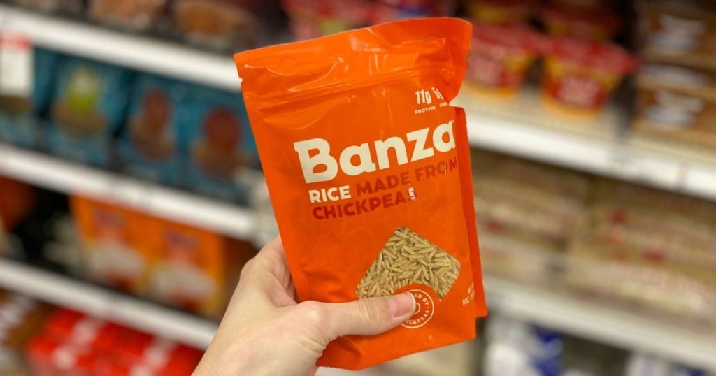 hand holding package of Banza Rice