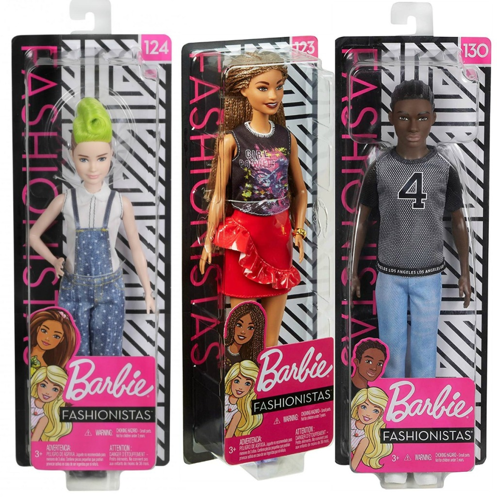 Three styles of Barbie Fashionista Dolls in packaging