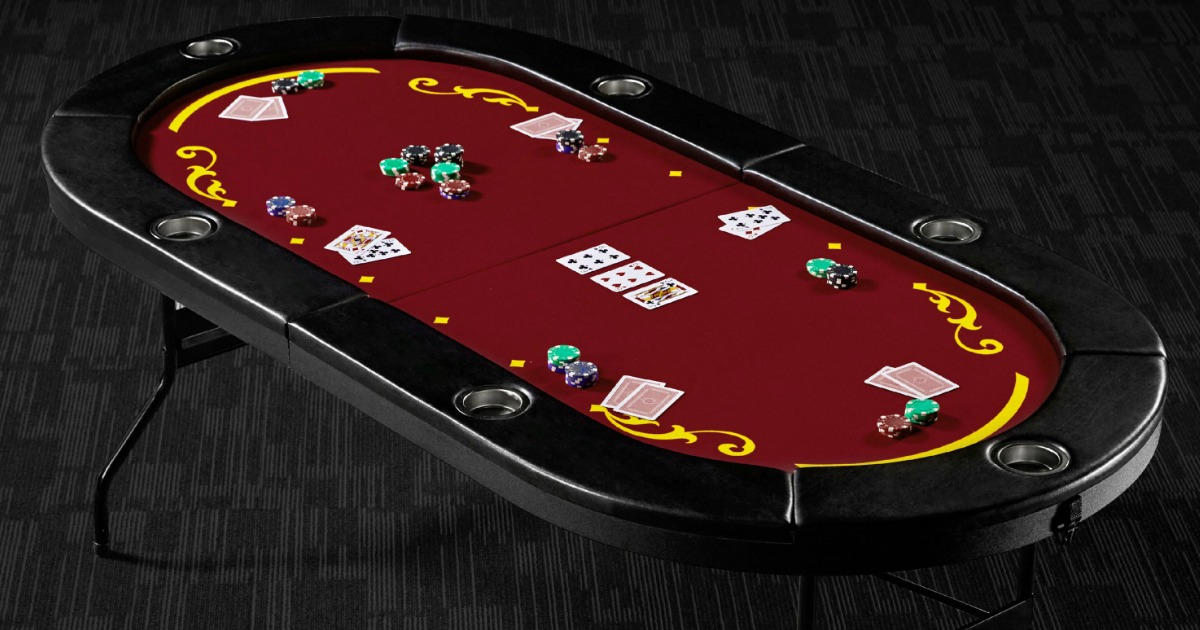 Barrington Poker Table st up with cards and poker chips