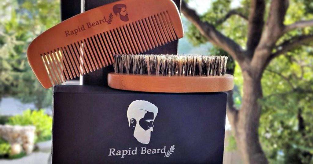 Beard Brush and Beard Comb kit for Men