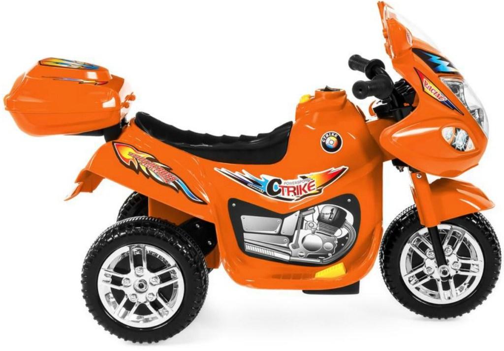 Orange motorized 3-wheeled bike