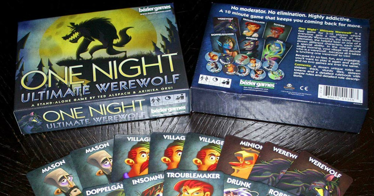 Bezier Games One Night Ultimate Werewolf game pieces and box