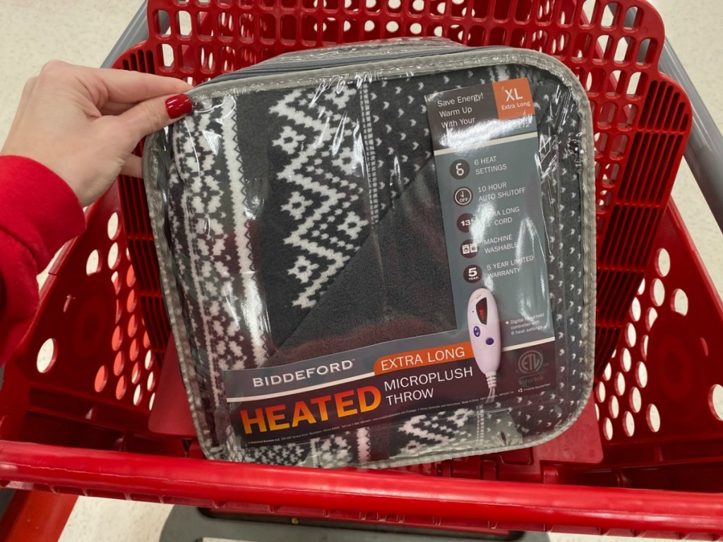 Biddeford brand blanket in package in red shopping cart at Target