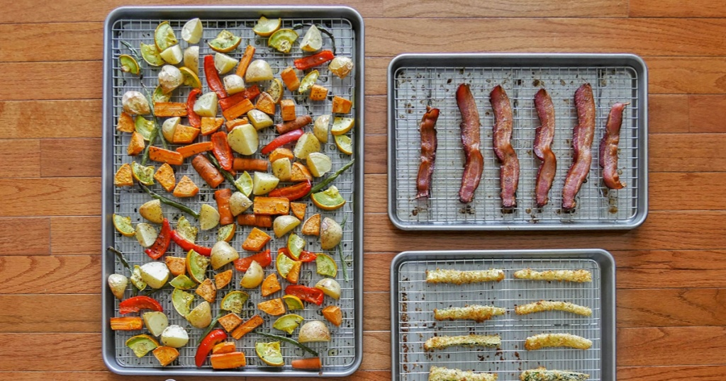 USA Pans Bakeware with bacon and vegetables