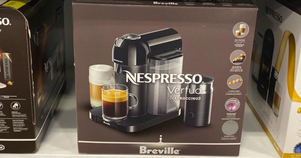 Nespresso Vertuo Coffee and Espresso Maker by Breville with Aeroccino on store shelf
