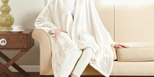 Wearable Angel Wrap Plush Throw Blanket w/ Pockets Only $8 (Regularly $13)