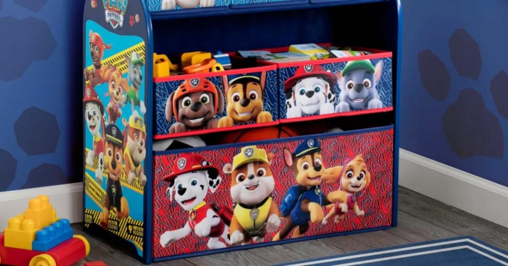 Paw Patrol Toy Organizer in kids bedroom