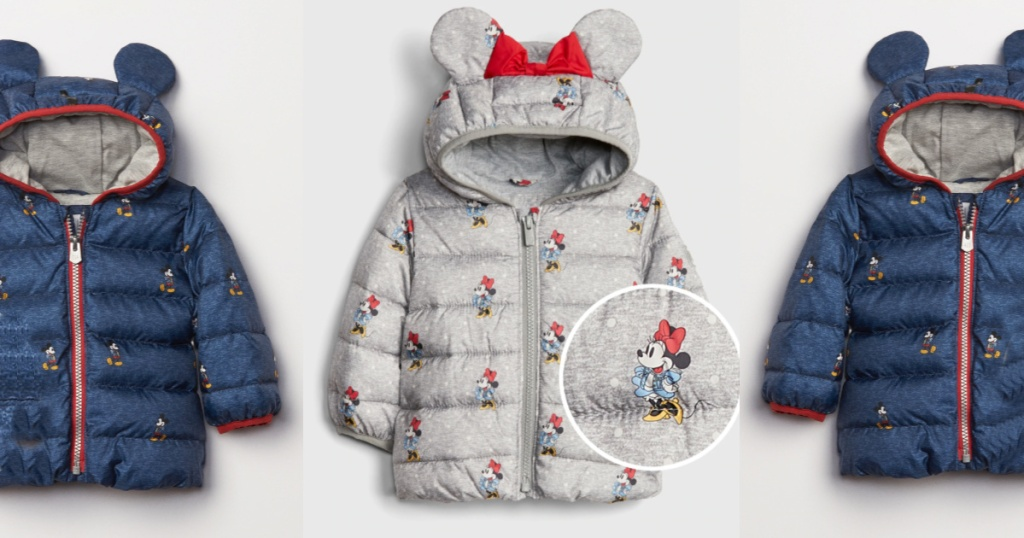 Gap Disney Baby Grey and Blue Puffer Jackets