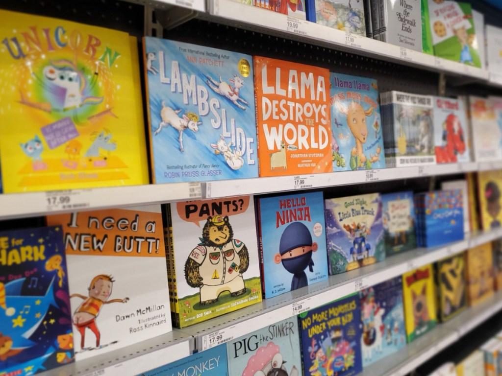 Kids books lined up on Target shelf