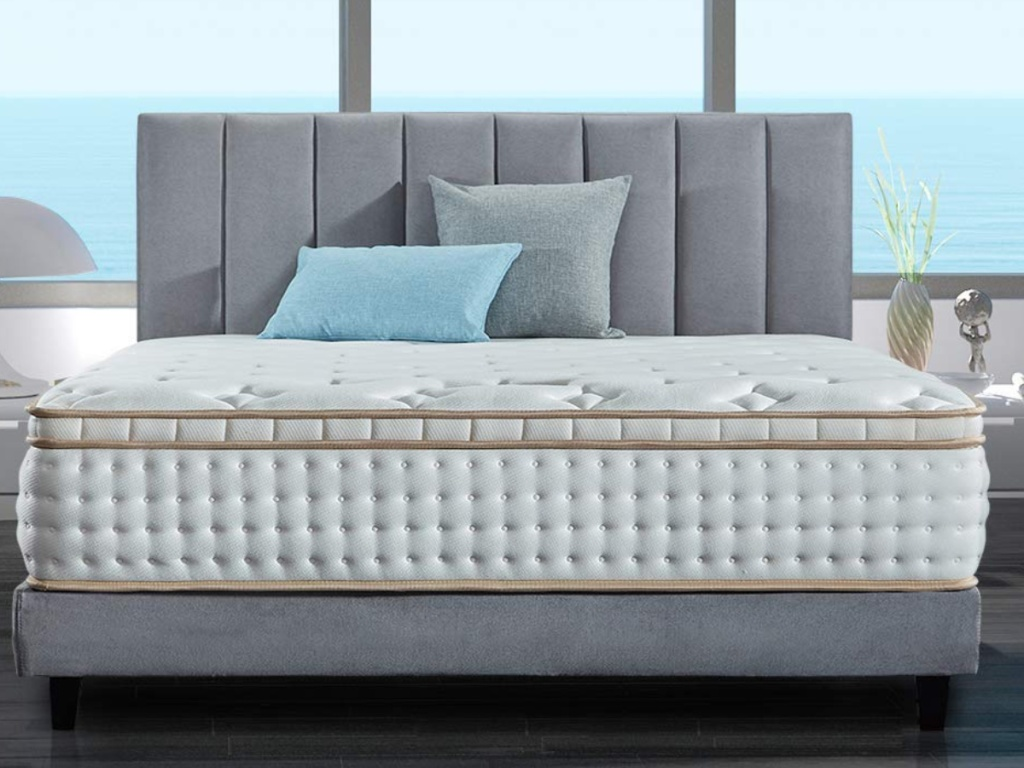 BedStory Mattress with pillows sitting on top