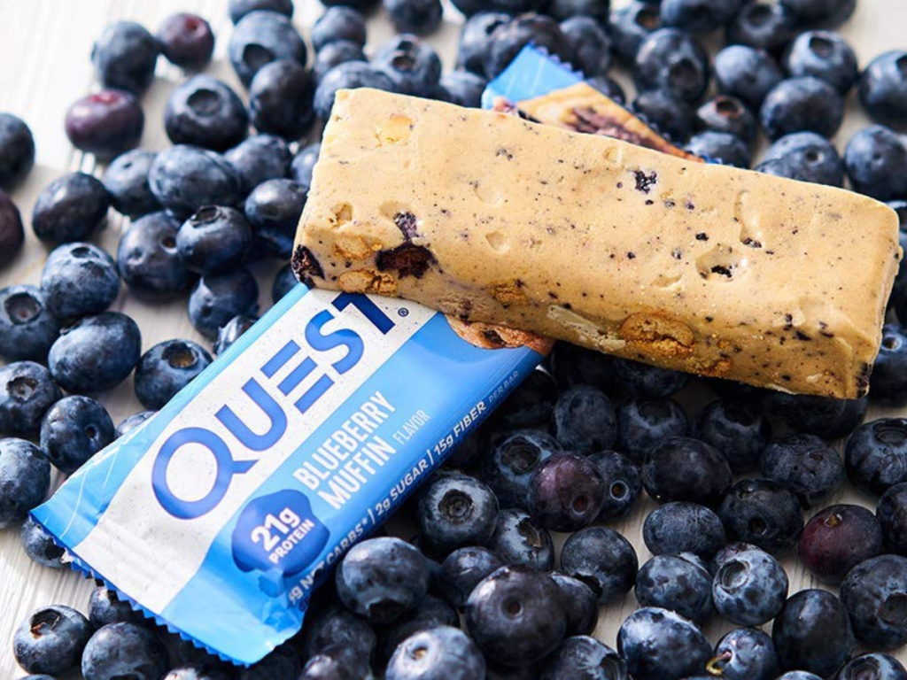 Blueberry Question Protein Bars with fresh blueberries