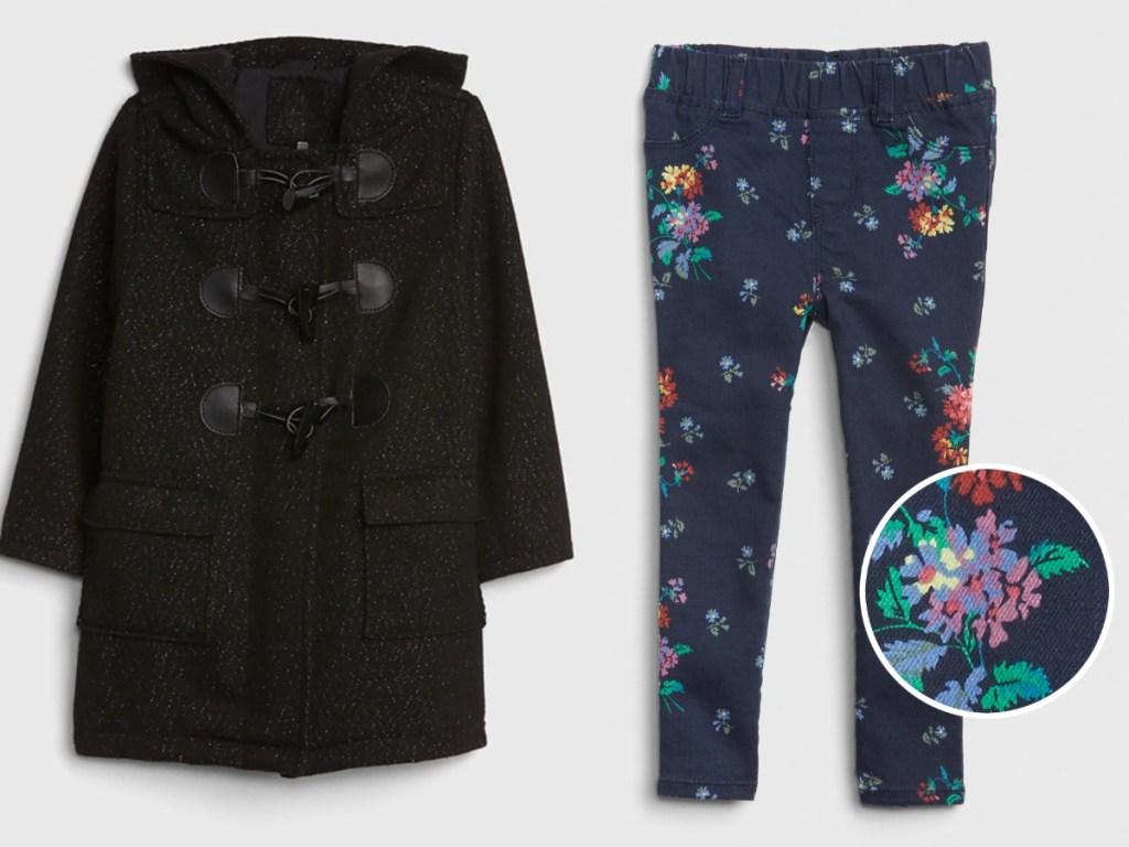 Gap Toddler Glitter Duffle Coat & Floral Jeggings