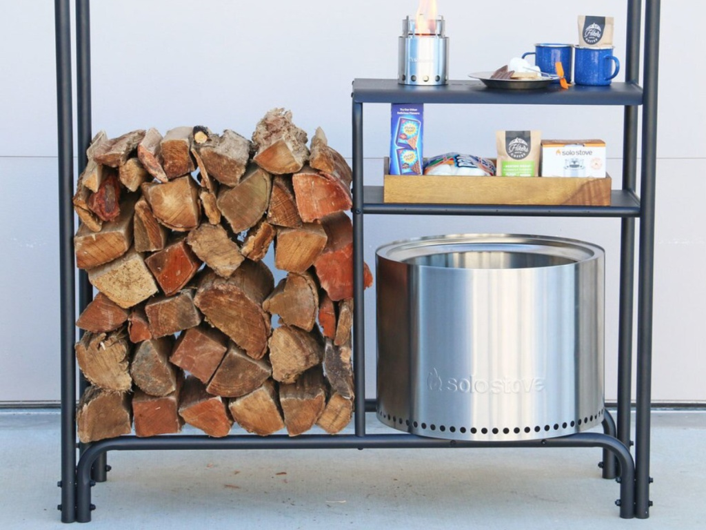 Solo Stove Station with wood stacked