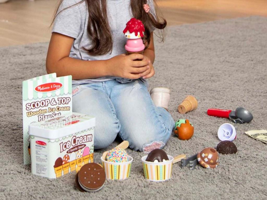 Melissa & Doug Scoop and Top Wooden Ice Cream Play Set