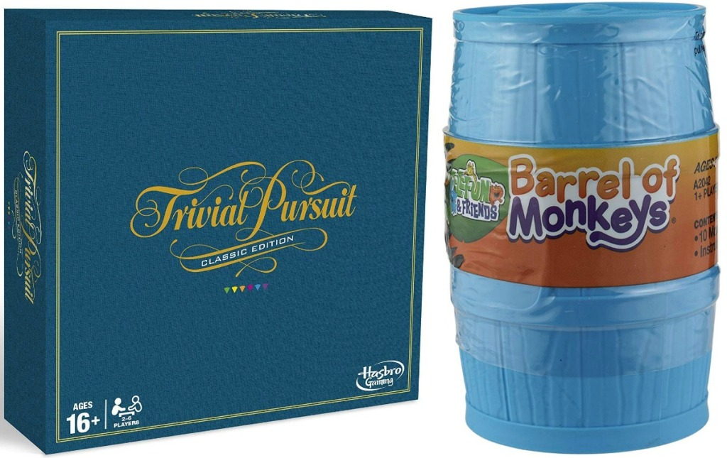 Trivial Pursuit board game and barrel of monkeys